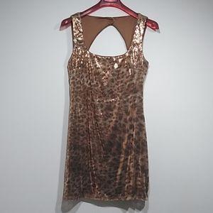 Vintage Cache leopard sequin cocktail dress sz 12